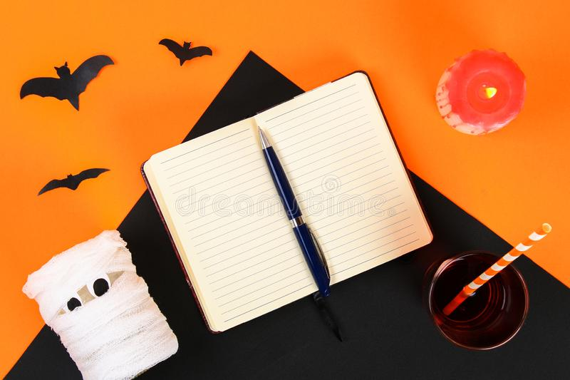 Necessary items for ornament the season. Top view of accessory decoration Happy Halloween festival background concept. Mix variety. Object on the modern rustic stock photo