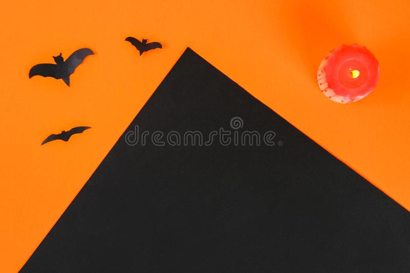 Necessary items for ornament the season. Top view of accessory decoration Happy Halloween festival background concept. Mix variety. Object on the modern rustic stock photos