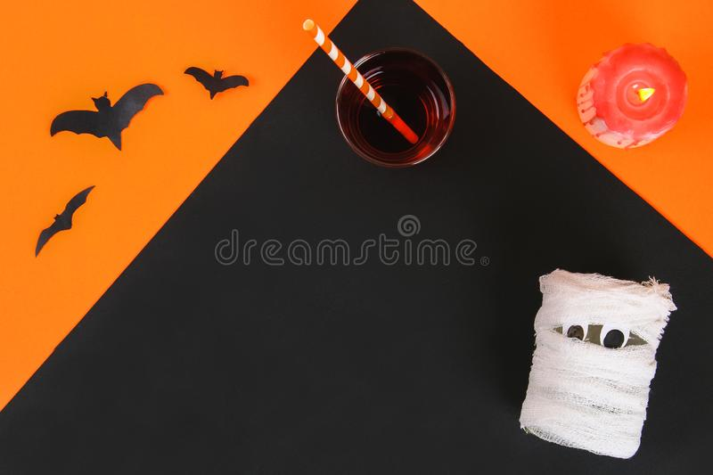 Necessary items for ornament the season. Top view of accessory decoration Happy Halloween festival background concept. Mix variety. Object on the modern rustic royalty free stock images