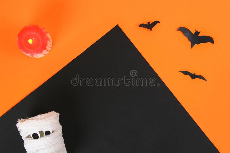 Necessary items for ornament the season. Top view of accessory decoration Happy Halloween festival background concept. Mix variety. Object on the modern rustic stock images