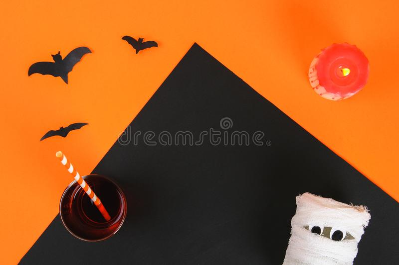 Necessary items for ornament the season. Top view of accessory decoration Happy Halloween festival background concept. Mix variety. Object on the modern rustic stock photography