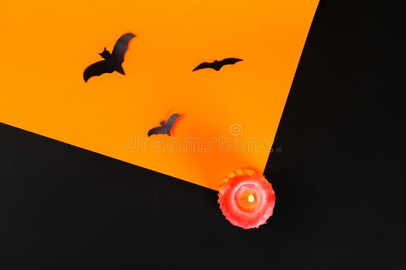 Necessary items for ornament the season. Top view of accessory decoration Happy Halloween festival background concept. Mix variety. Object on the modern rustic royalty free stock image