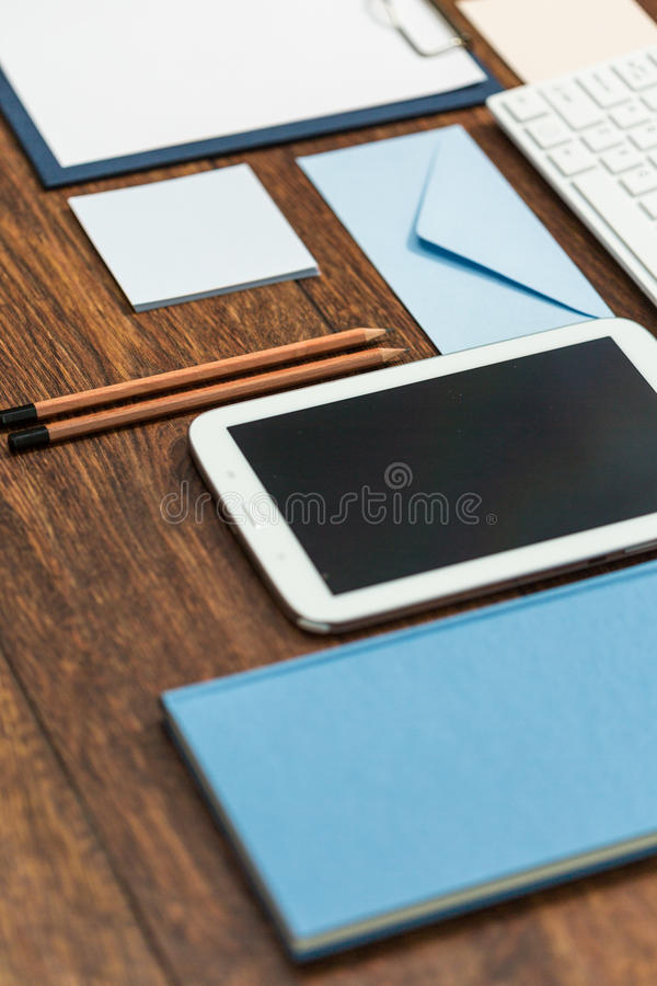 Necessary at work. Office desk with things which are necessary at work stock photos
