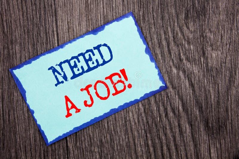 Necessidade da exibição do texto da escrita um trabalho Busca desempregado apresentando do trabalhador do desemprego da foto do n imagens de stock