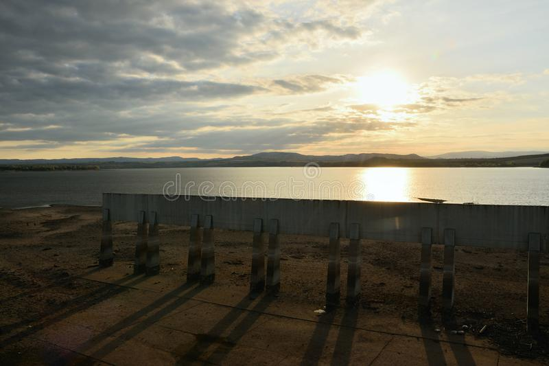 Nechranice dam during reconstruction at sunset on 15th September 2018 stock photos