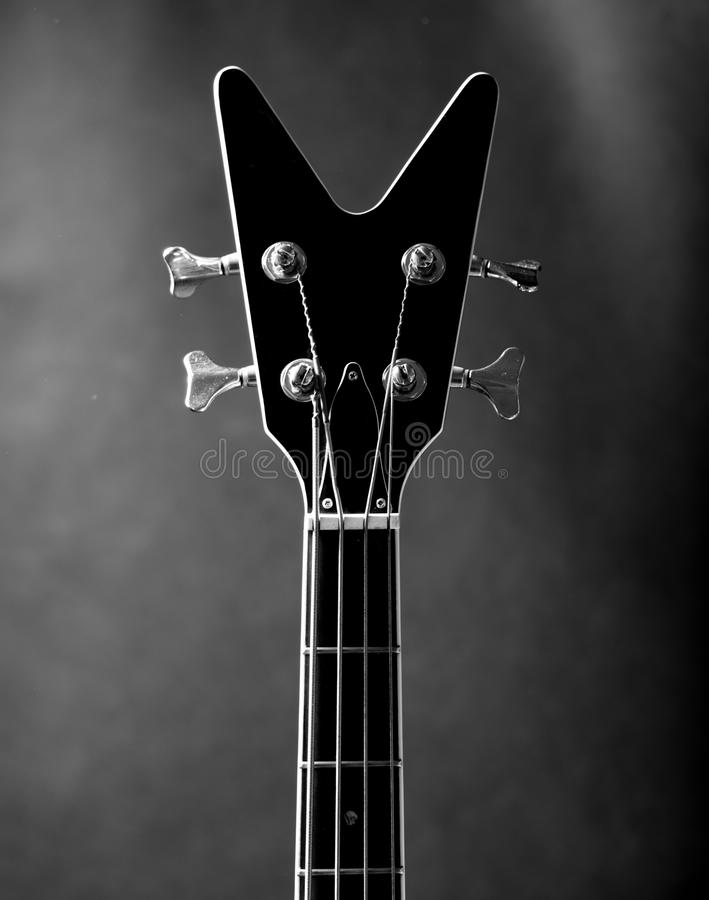 Download Neck of a black guitar stock image. Image of musical - 69238087