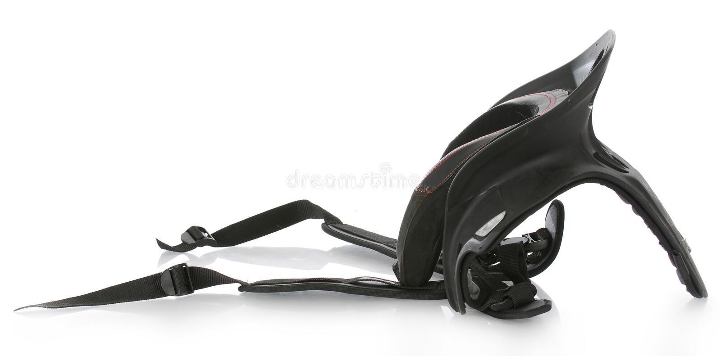 Neck brace. Sport motocross neck brace with reflection on white background stock photo