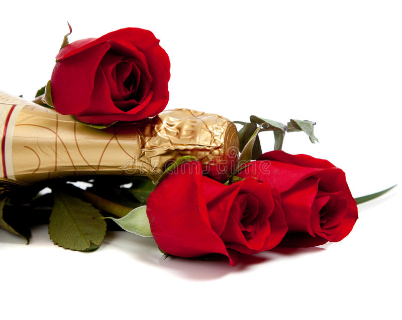 Download Neck Of A Champagne Bottle With Red Roses On White Stock Image - Image: 11868383