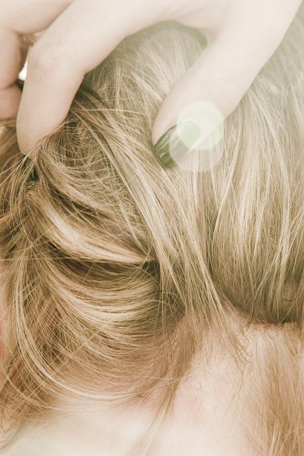 Neck & Hair. Ob a beautiful and sensual woman stock photos