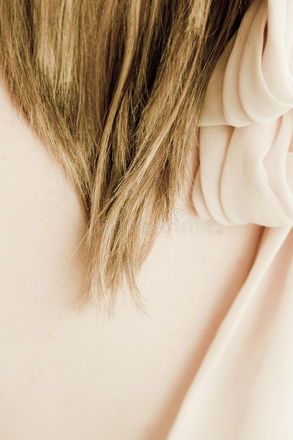 Neck & Hair. Ob a beautiful and sensual woman royalty free stock photo