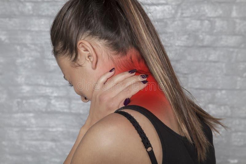 Neck injury, pain that paralyzes royalty free stock image