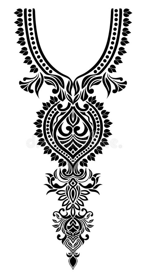 Free Neck Line Embroidery Design With Flowers Royalty Free Stock Image - 183240026