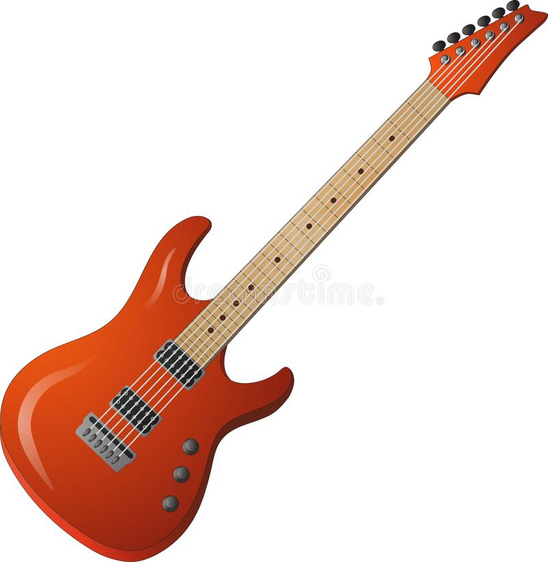 Red electric guitar with brilliance royalty free stock photography