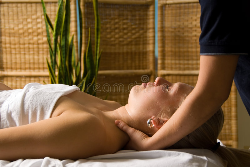Neck massage stock photo