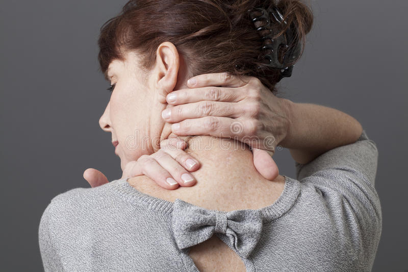 Neck and shoulder gestures for releasing tension stock images