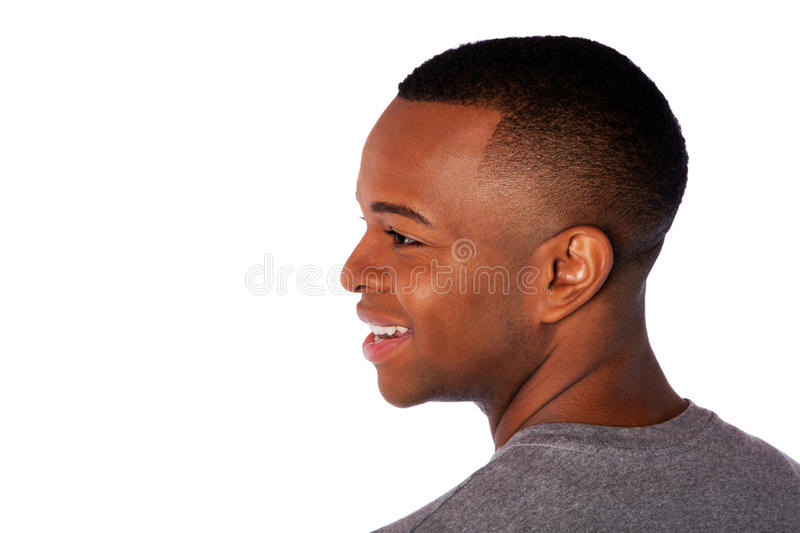 Neck and side of happy man face royalty free stock photos