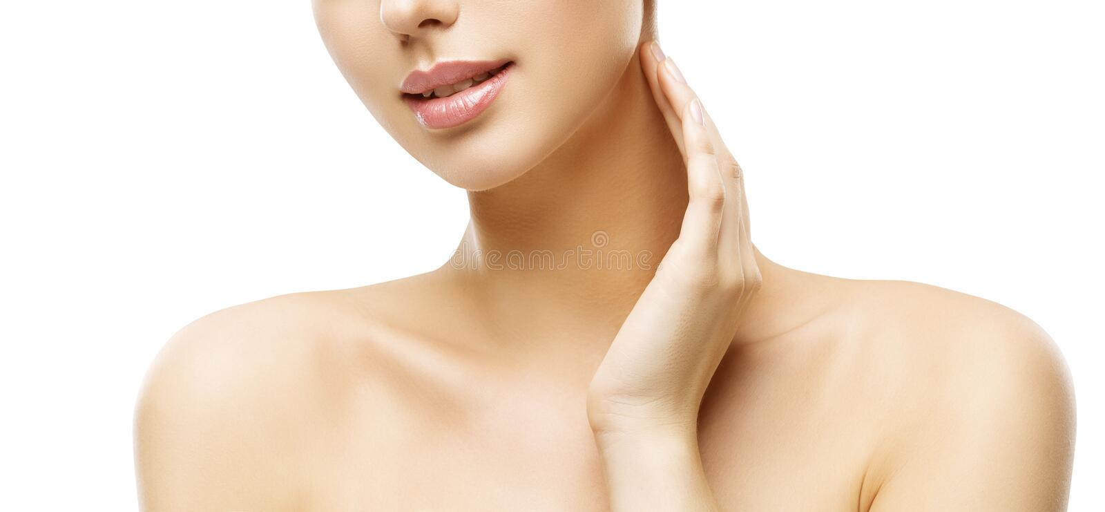 Neck Skin Care, Woman Face Makeup and Lips Beauty Treatment. Model Touch Neck by Hand, Isolated on White Background royalty free stock photos