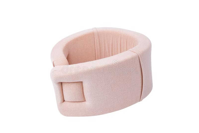 Neck support brace on white background , soft cervical collar.  stock photography