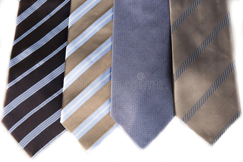 Neck Ties. Blue and beige neck ties with stripes and pattern royalty free stock image