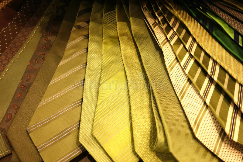 Neck Ties. For men, in green and brown tones, for sale royalty free stock photo