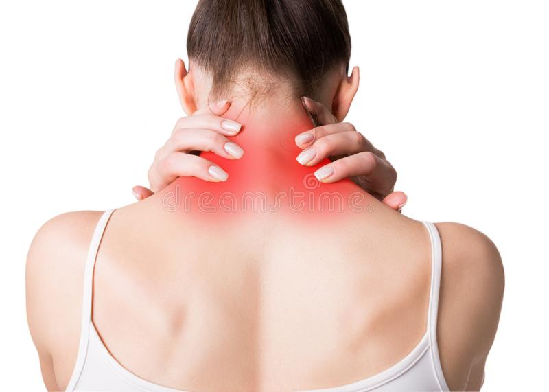 Neck, trapezoid and shoulders pain. Muscle spasm. Female back in light top. Woman put her fingers on sore spots, red royalty free stock images