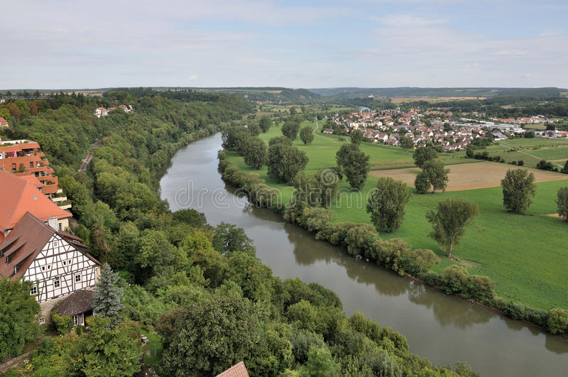Neckar river, bad wimpfen. Aerial view of the river and the countryside around the historical city center royalty free stock photos