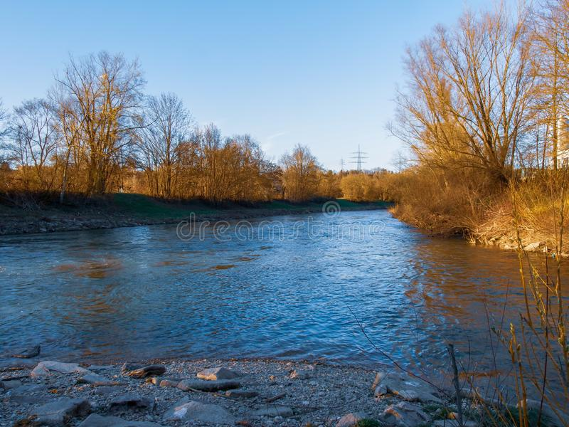 Neckar river in Southern Germany stock photography