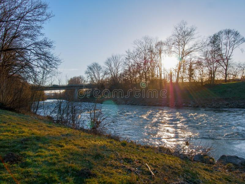 Neckar river in Southern Germany royalty free stock images