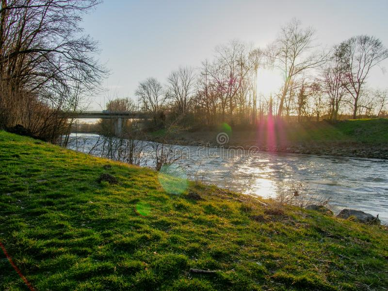 Neckar river in Southern Germany royalty free stock photography