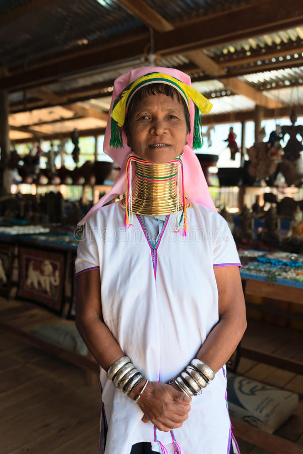 Necked Kayan Lahwi kobieta zdjęcie royalty free