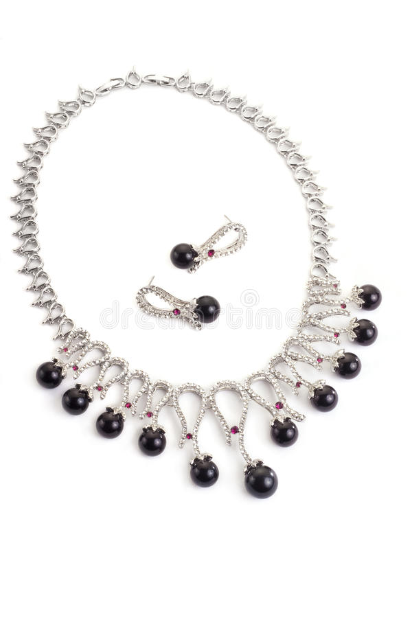 Necklace with black pearls royalty free stock photography