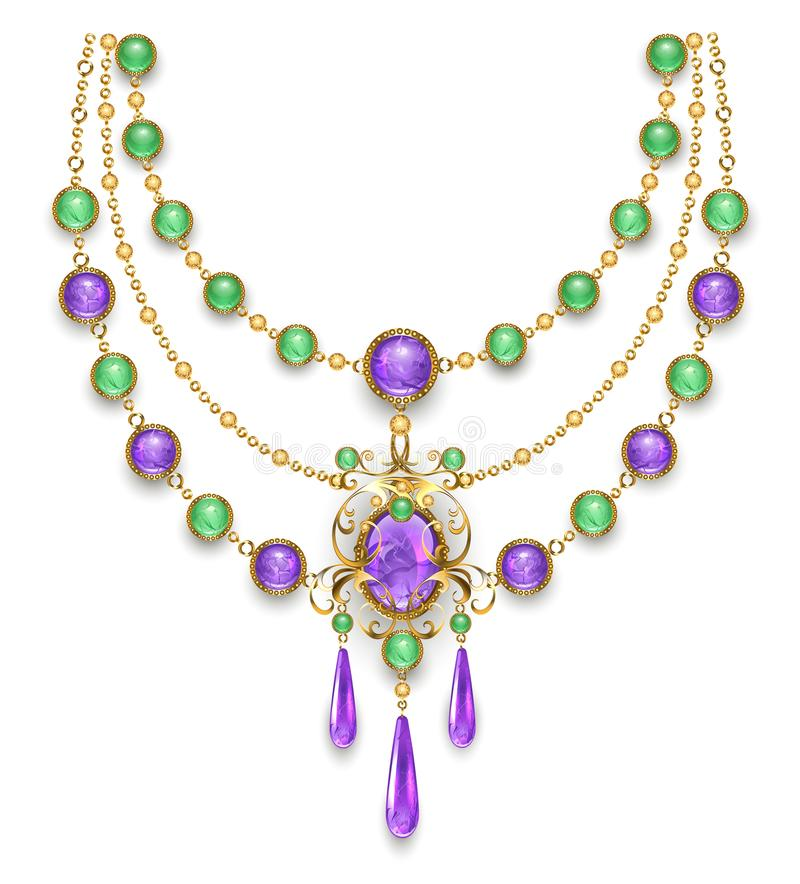 Necklace with amethyst and green gems stock illustration
