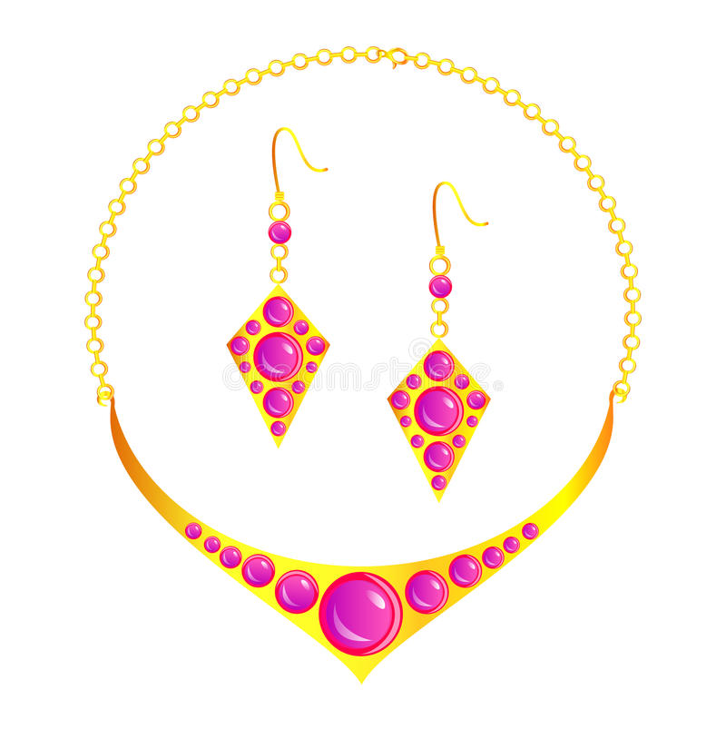 Necklace and earrings. With purple beads royalty free illustration