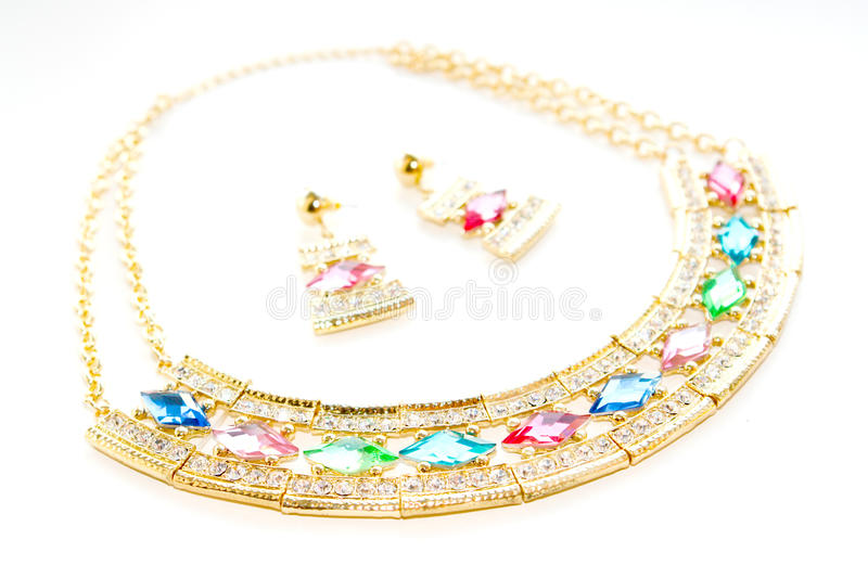 Necklace and earrings set royalty free stock image