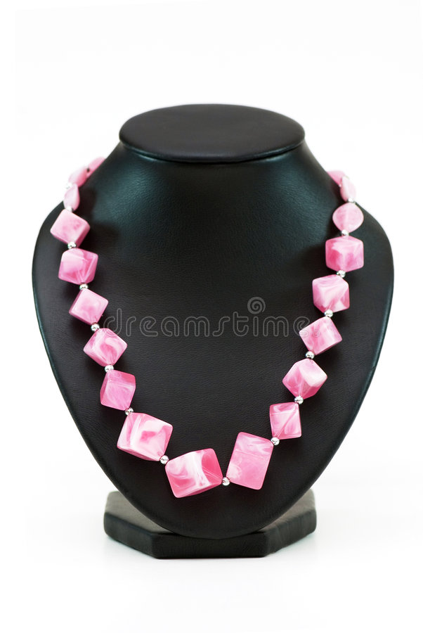 Necklace with many pink stones royalty free stock photography