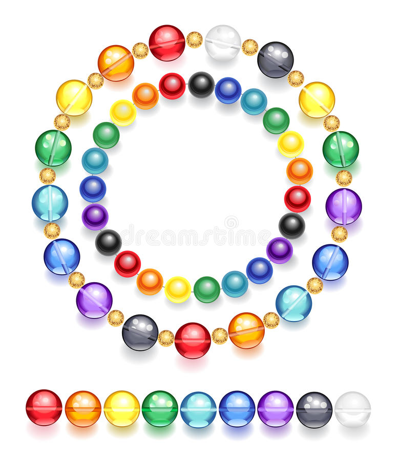 Necklace of multicolored beads stock illustration