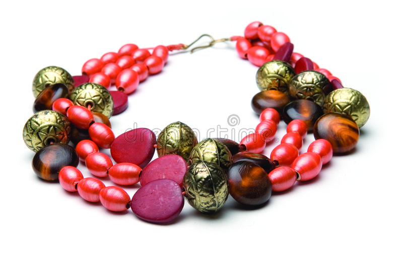 Necklace with orange stones stock photography