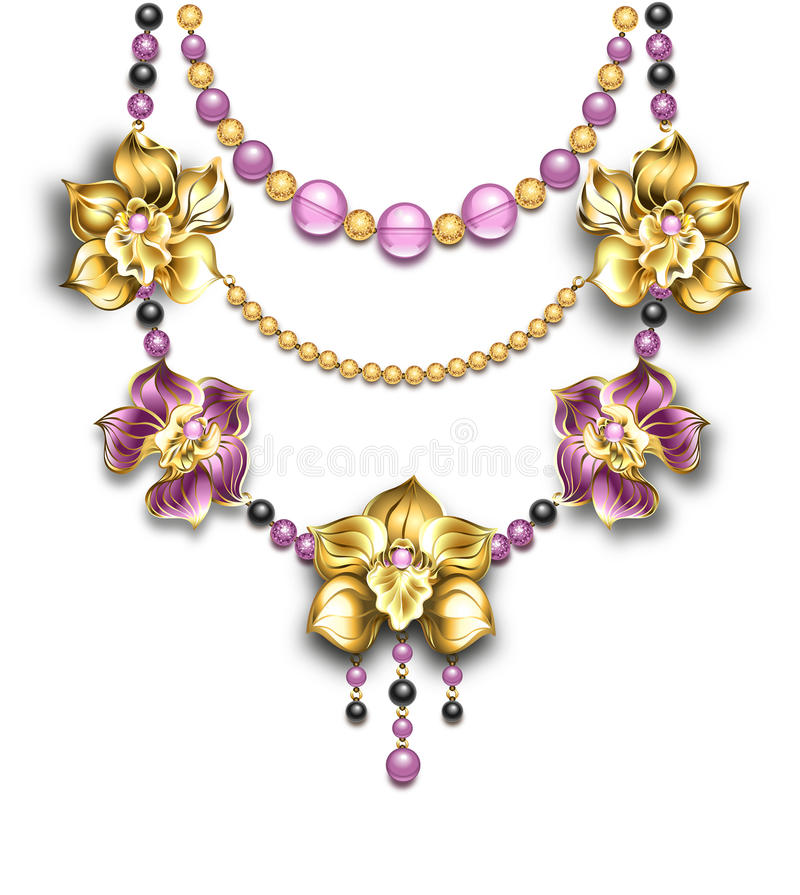 Necklace with orchids royalty free illustration