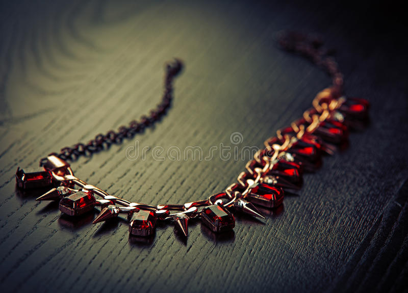 Necklace with rubies royalty free stock photo