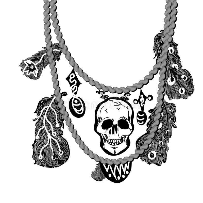 Necklace with skull and feathers royalty free illustration