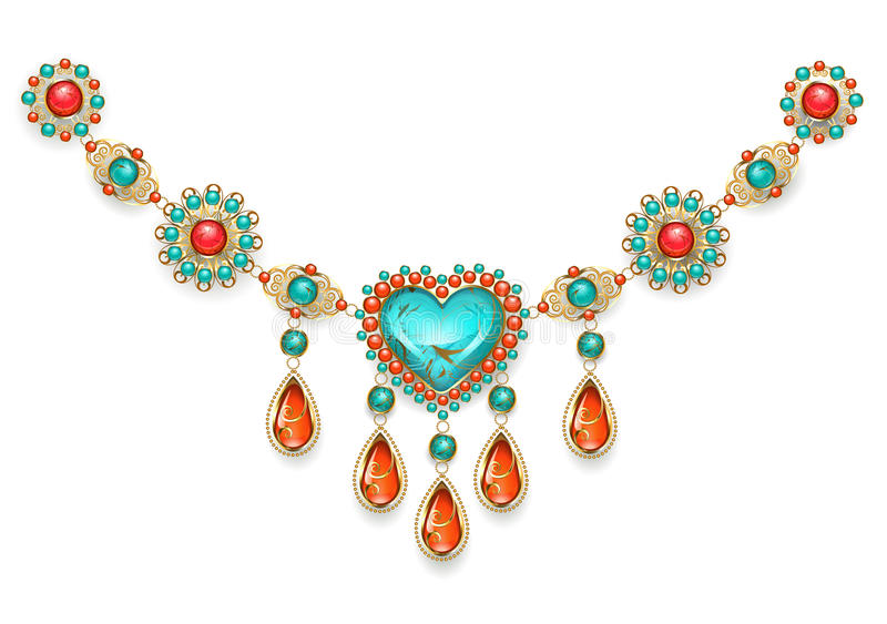 Necklace with turquoise heart royalty free illustration