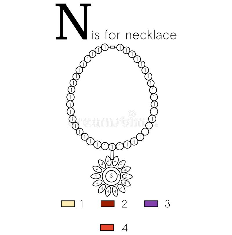 Free Necklace. Vector Alphabet Letter N, Colouring Page Stock Photos - 166727393