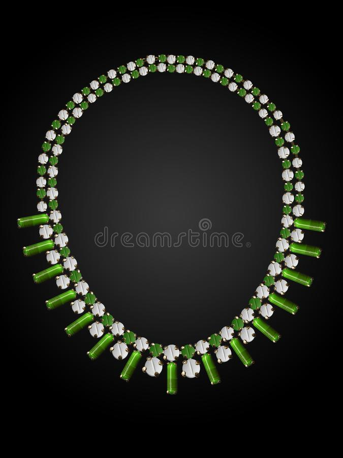 Necklace of white pills and green capsules. vector illustration