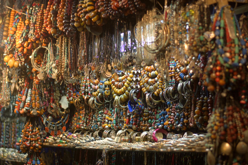 Necklaces and bracelets craft in Eastern markets stock photography