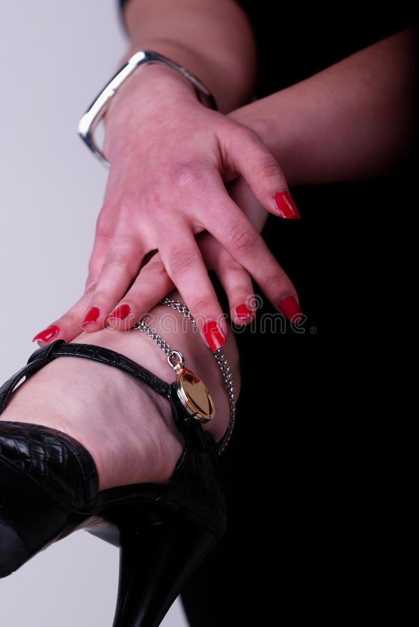 Download Necklaces on women feets stock image. Image of black - 12990879