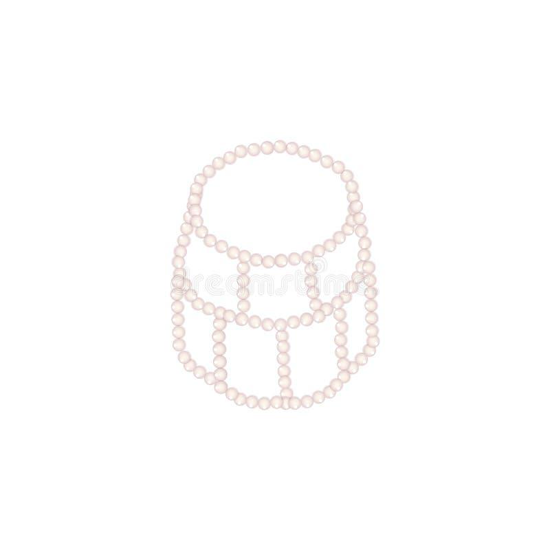Necklage della perla o girocollo della perla su fondo bianco illustrazione di stock