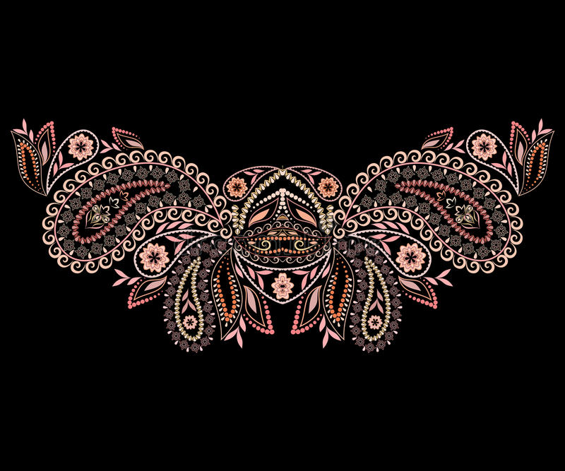 Neckline ethnic design. Geometric bohemian monochrome pattern. stock illustration