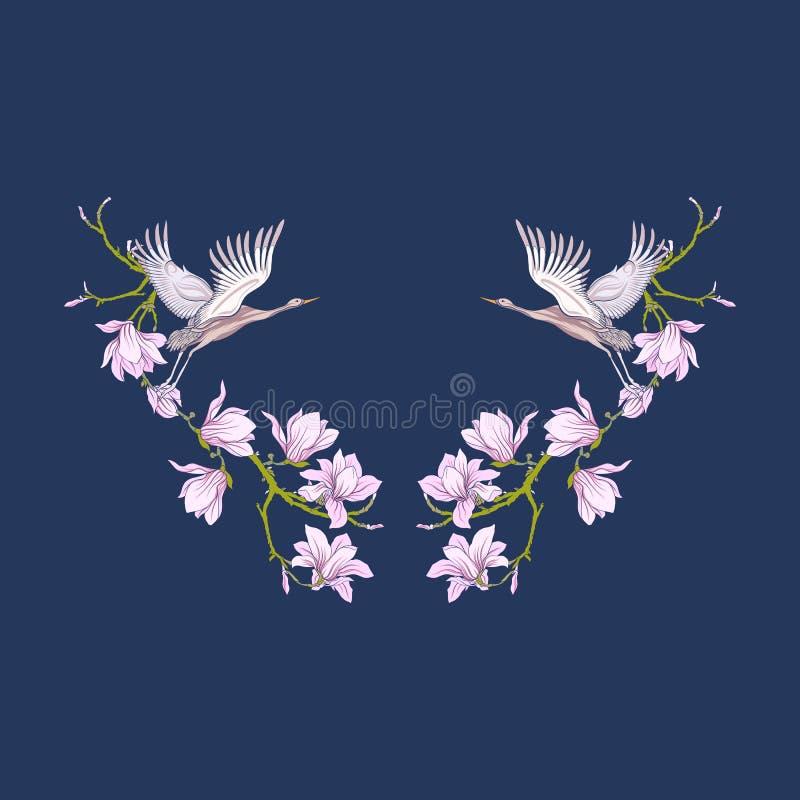 Neckline z kwiatami i żurawiem na czarnym tle Akcyjna linia royalty ilustracja