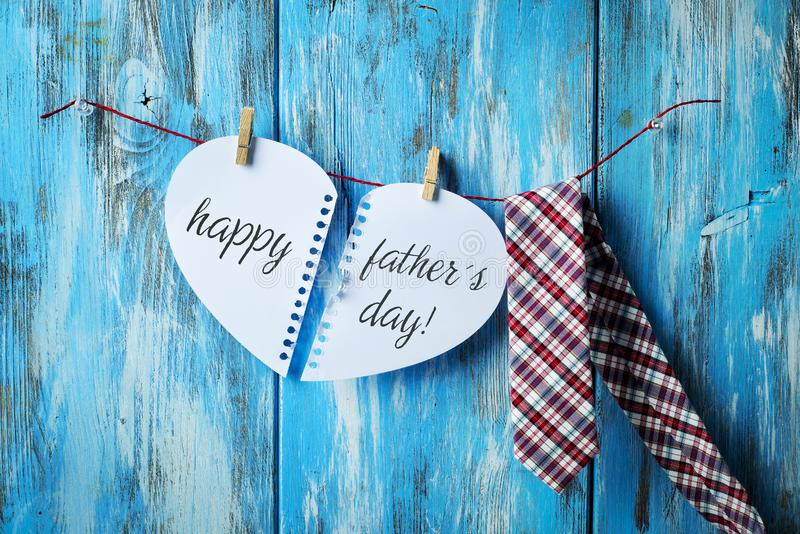 Necktie and text happy fathers day stock image