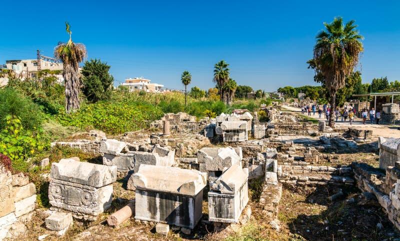 A necrópolis de Al-Bass Tyre em Líbano imagem de stock royalty free